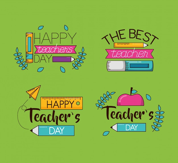 Happy teachers day set collection