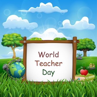 Happy teachers day sign with set of stationary elements