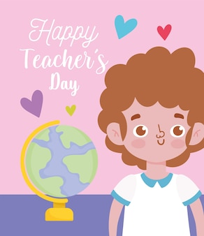 Happy teachers day, student boy and school globe map
