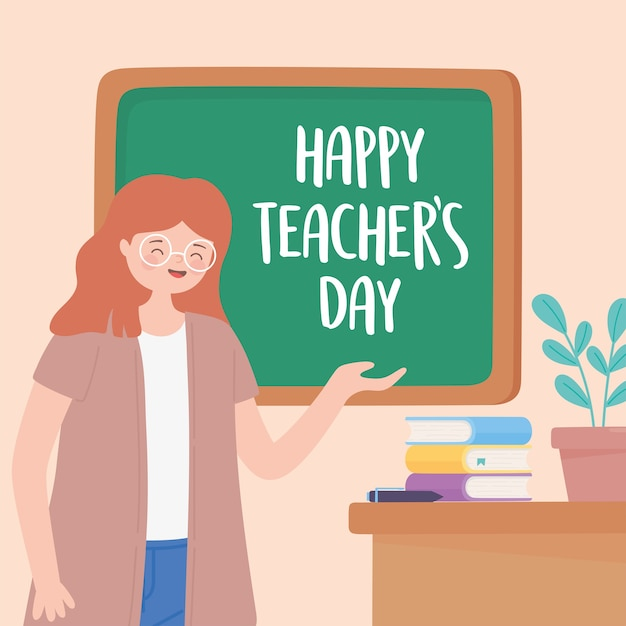 Happy teachers day, teacher lesson desk chalkboard books and plant