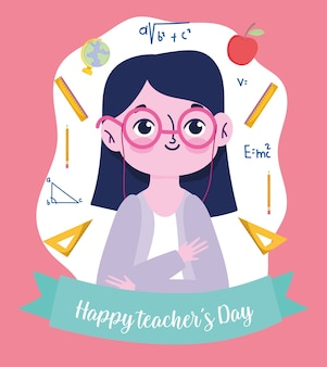 Happy teachers day, teacher with glasses and supplies school cartoon