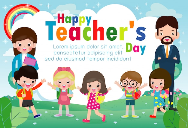 Happy teachers day template greeting card