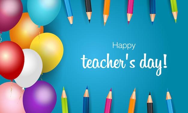 행복한 교사의 날 세계 최고의 교사 세계 교사의 날을 위한 벡터 개념 배너