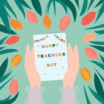 행복 한 교사의 날 벡터 일러스트 레이 션 여성의 손에 카드를 들고