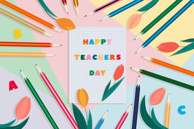 Счастливый день учителя векторная иллюстрация с карандашами для ноутбука и тюльпанами
