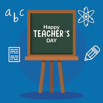 Happy teachers day, with chalkboard and education icons