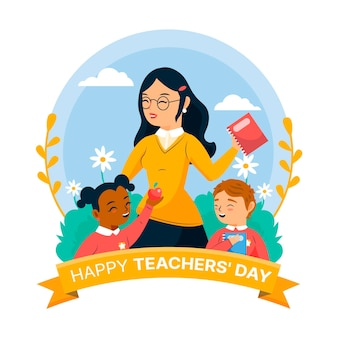 Happy teachers' day with female teacher and children