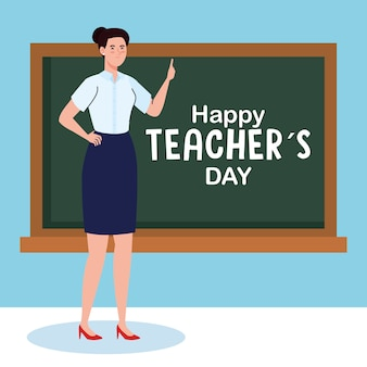 Happy teachers day, with woman teacher and chalkboard