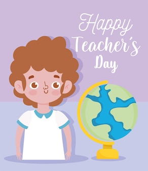 Happy teachers day, young boy student and school globe