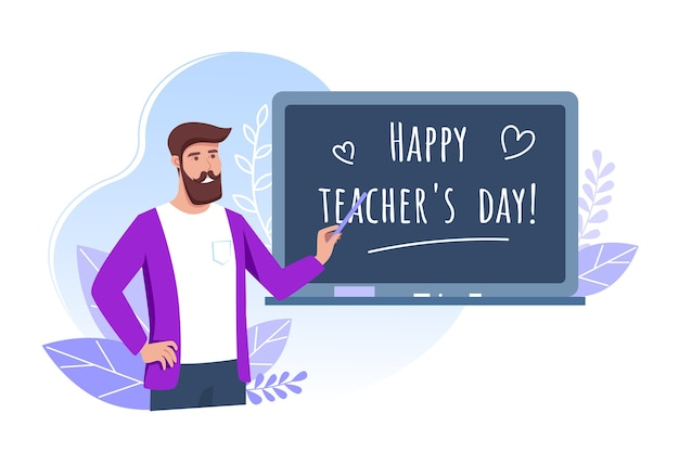Happy teachers day, young man teacher holds a pointer and stands near the school board