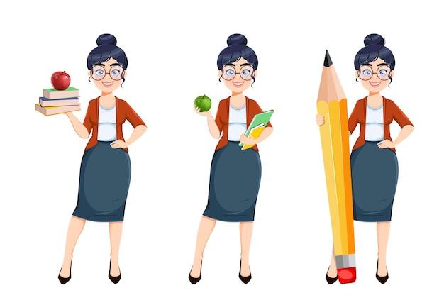 행복한 기술자의 날입니다. 귀여운 여교사 만화 캐릭터, 세 가지 포즈가 있습니다. 스톡 벡터 일러스트 레이 션 흰색 배경에 고립 프리미엄 벡터