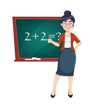 행복한 기술자의 날입니다. 수학 수업을 하는 동안 칠판 근처에 서 있는 귀여운 여교사 만화 캐릭터. 주식 벡터 일러스트 레이 션.