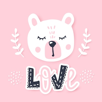 Happy teddy bear. awesome greeting card with bear. doodle kids animals .