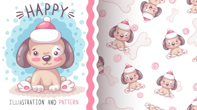 Счастливый плюшевый пес бесшовные модели
