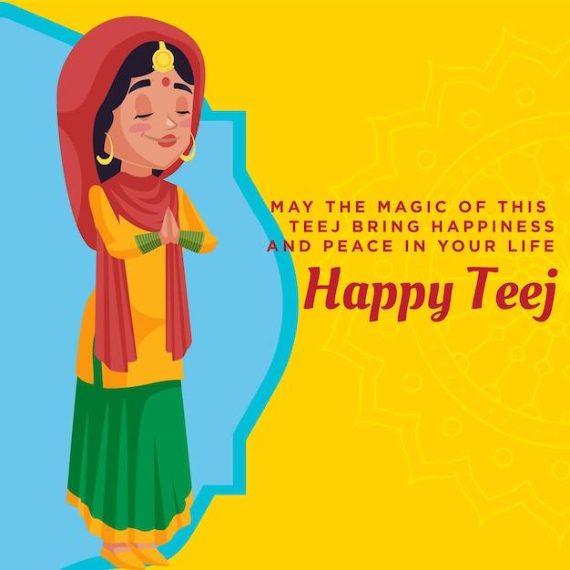 Happy teej banner design template