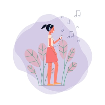 Happy teen girl cartoon character listening music in headphones on background of leaves, musical notes signs and abstract shapes,   illustration .
