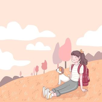 Zaino in spalla adolescente felice che si siede sul prato con il suo cane durante il viaggio, illustrazione piana di stile del personaggio dei cartoni animati
