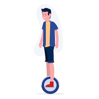 A happy teenage boy is riding an electric bicycle.  illustration for landing pages, websites and many more