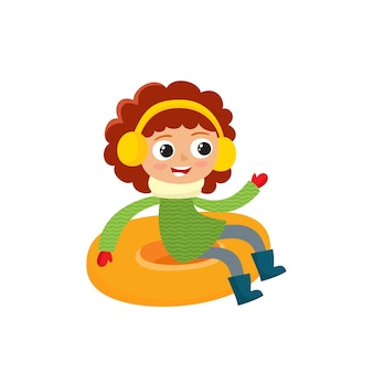 Happy teenage in winter clothes on snow tubing, illustration isolated on white background.
