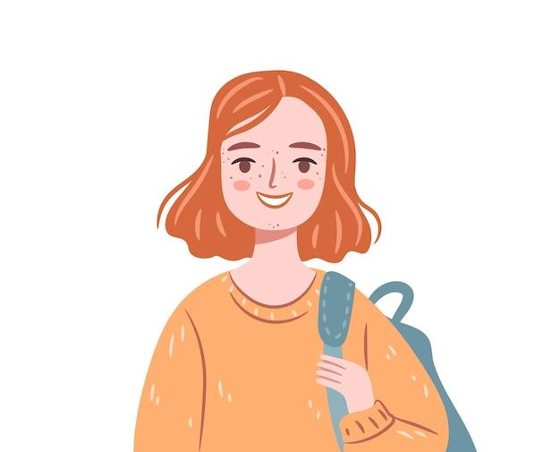 にきびと幸せなティーンエイジャー白い背景で隔離のバックパックを持つ赤い髪の学生の女の子