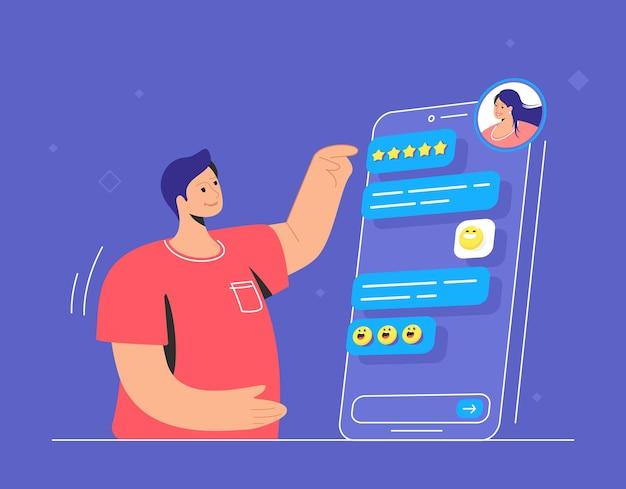 メッセンジャーアプリでオンラインチャットする幸せなティーンエイジャー。チャット会話をし、スマートフォンの画面で彼の女性の友人とオンラインで話している笑顔の男性のフラットラインベクトル図