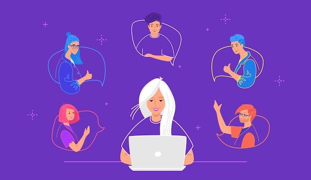 ふきだしで幸せなティーンエイジャー。チャット会話とオンライン会話のフラットラインベクトルイラスト。紫色の背景でお互いにチャットし、身振りで示す友人としての若者