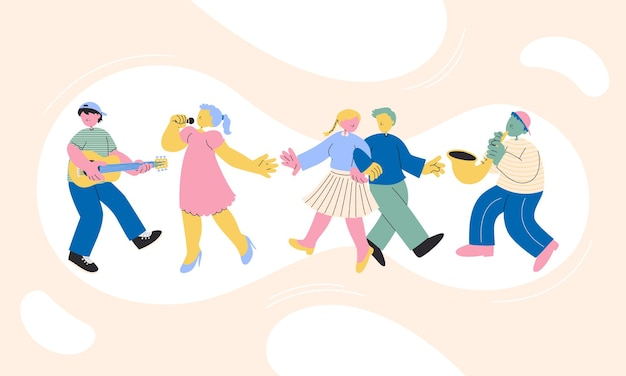 Счастливый подростковый персонаж, подростки танцуют