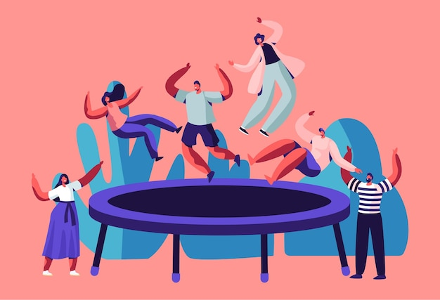 Happy teens jumping on trampoline, friends cheering.