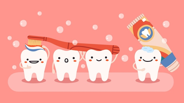歯ブラシと歯磨き粉で幸せな歯のマスコット
