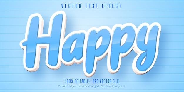 Happy text, cartoon style editable text effect