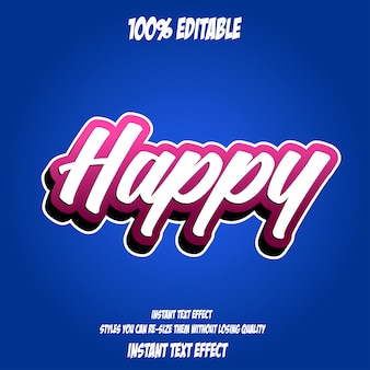 Happy text, editable font effect