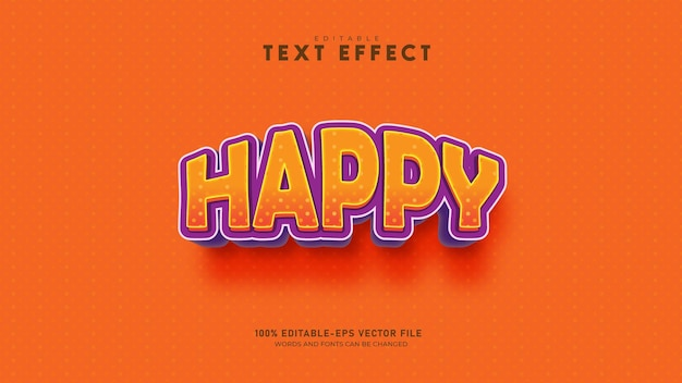 행복 텍스트 효과 편집 가능한 주황색 텍스트 스타일 premium vector