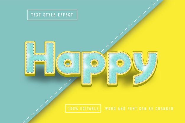 Happy text effect editable sewing