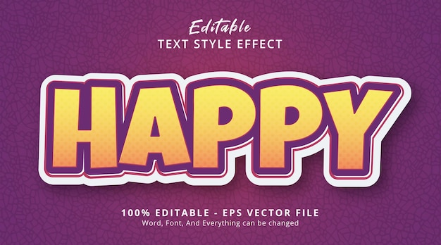Happy text on fancy gradient style effect, editable text effect