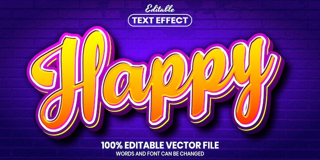 Happy text, font style editable text effect