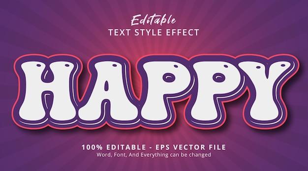 현대적인 보라색 스타일 효과에 대한 행복한 텍스트, 편집 가능한 텍스트 효과