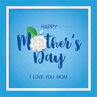 青の背景にジャスミンの花と幸せなタイの母の日。