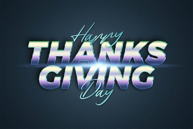 Happy thankgiving day text effect theme chrome realistic with light concept for trendy poster, flayer and banner invitation template