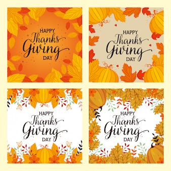 Happy thanks giving card set with floral decoration