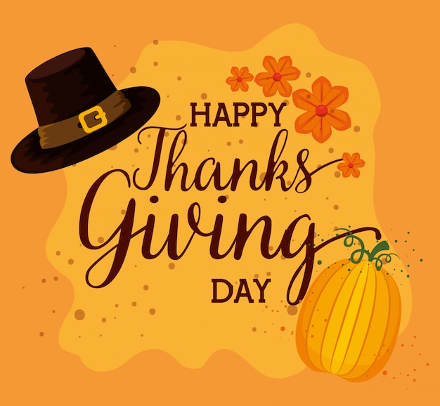 Happy thanks giving card with pilgrims hat