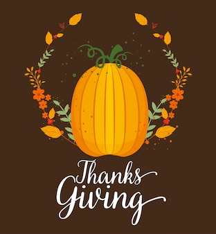 Happy thanks giving card with pumpkin