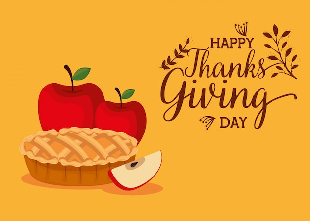 Happy thanks giving card with sweet pie