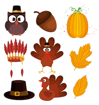 Happy thanks giving icon set