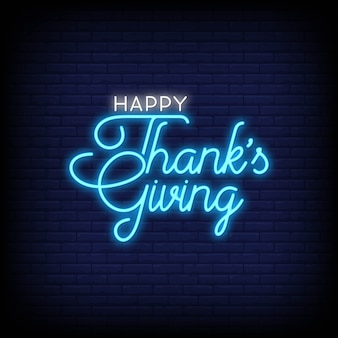 Happy thanks giving neon sign style