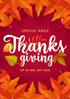 Happy thanks giving  sale poster, special price offer shopping promo with autumn leaves on red background. store, mall and market promotion with cartoon fallen leaf of maple, rowan and birch