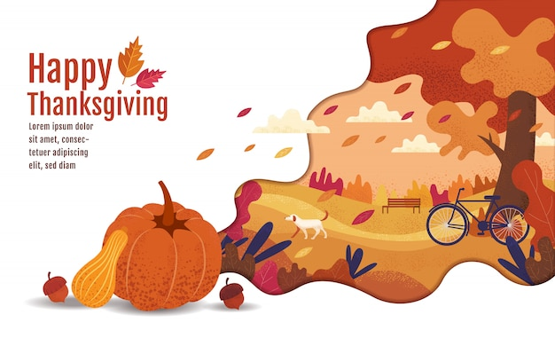 Happy thanksgiving, autumn., drawing, cartoon, landscape painting style.