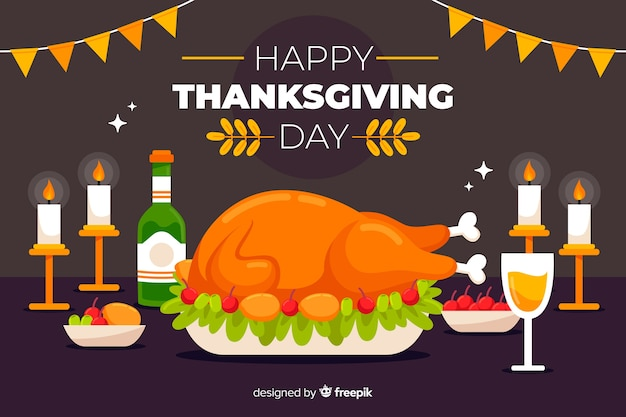 Happy thanksgiving background in flat design