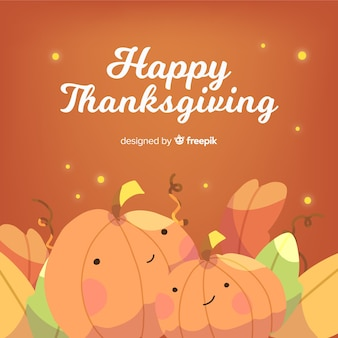 Happy thanksgiving background with cute pumpkins in flat design