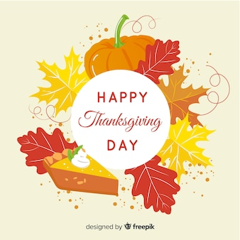 Happy thanksgiving background with leaves and flowers frame