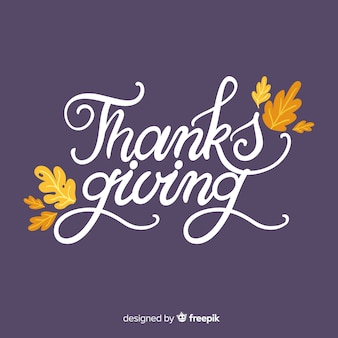 Happy thanksgiving background with lettering and leaves